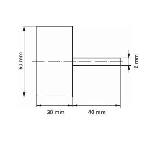 1 Stk | Fächerschleifer SFL universal 60x30 mm Schaft 6 mm Korund Korn 60 Maßzeichnung