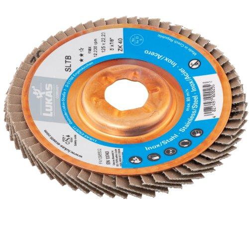10 Stk | Fächerschleifscheibe SLTB für Edelstahl Ø 115 mm Zirkonkorund Korn 60 | schräg Produktbild