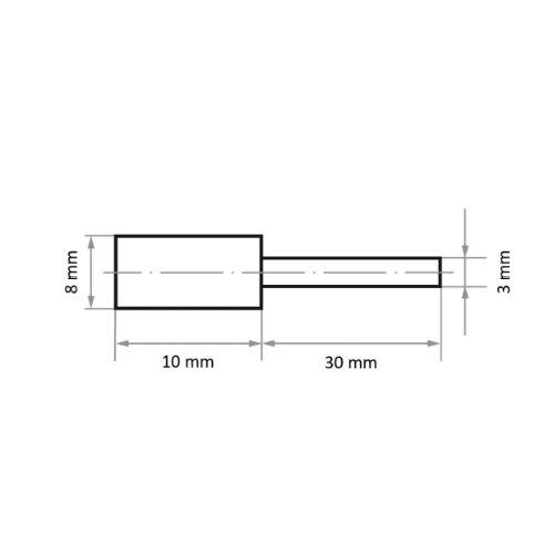 20 Stk   Polierstift P5ZY Zylinderform 8x10 mm Korn 80   Schaft 3 mm Abb. Ähnlich