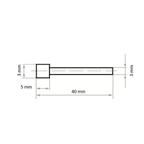 1 Stk   Diamantschleifstift DS Zylinderform 3x5 mm Schaft 3 mm Abb. Ähnlich