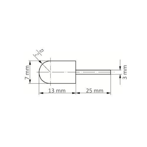 5 Stk | Werkzeugaufnahme GTWR für Schleifkappen 7x13 mm Schaft 3 mm Maßzeichnung