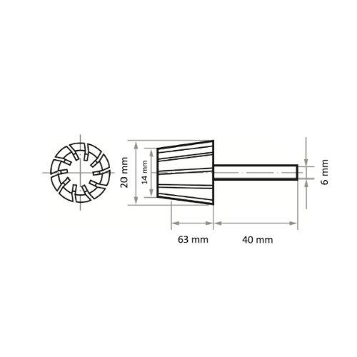 5 Stk | Werkzeugaufnahme STKE für Schleifhülsen 20x63 mm Schaft 6 mm Abb. Ähnlich
