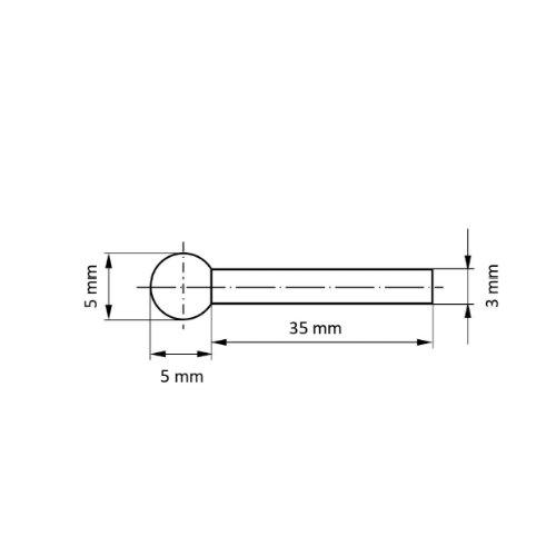 1 Stk   CBN-Schleifstift CSK Kugelform 5x5 mm Schaft 3 mm Abb. Ähnlich