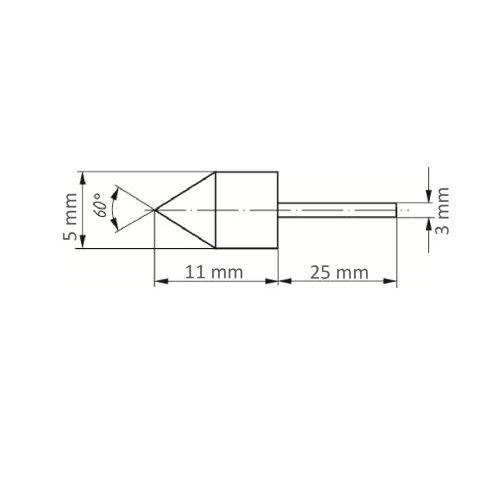 5 Stk | Werkzeugaufnahme GTWK für Schleifkappen 5x11 mm Schaft 3 mm Maßzeichnung