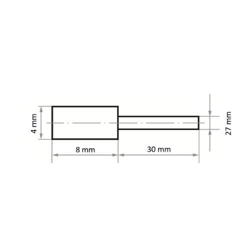 20 Stk   Polierstift P2ZY Zylinderform 4x8 mm Korn 80   Schaft 3 mm Abb. Ähnlich