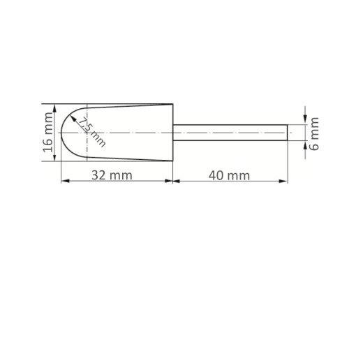 5 Stk   Werkzeugaufnahme GTKE für Schleifkappen 16x32 mm Schaft 6 mm Maßzeichnung