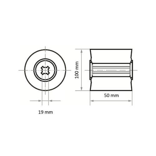 2 Stk | Sinus-Schleifwalze LWF universal 100x50 mm mit Bohrung 19 mm | Korund Korn 400 Abb. Ähnlich