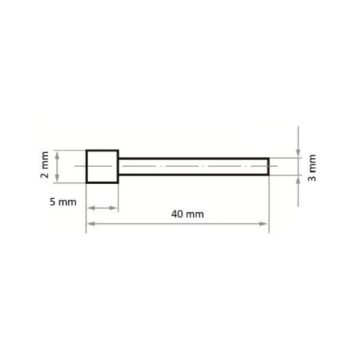 1 Stk | CBN-Schleifstift CS Zylinderform 2x5 mm Schaft 3 mm Abb. Ähnlich