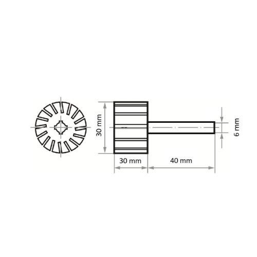 5 Stk | Werkzeugaufnahme STZY für Schleifhülsen 30x30 mm Schaft 6 mm x 40 mm | weich Abb. Ähnlich