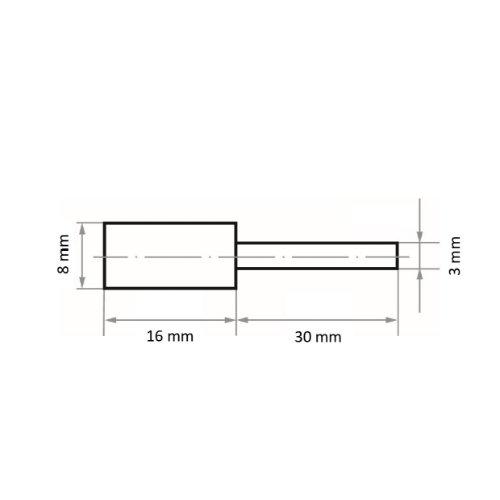 10 Stk   Polierstift P6ZY Zylinderform fein 8x16 mm Schaft 3 mm Siliciumcarbid Korn 150 Abb. Ähnlich