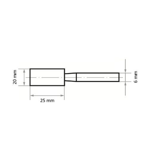 20 Stk | Schleifstift ZY Zylinderform für Stahl/Stahlguss 20x25 mm Schaft 6 mm | Edelkorund Korn 36 Abb. Ähnlich