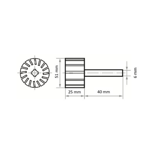 5 Stk   Werkzeugaufnahme STZY für Schleifhülsen 51x25 mm Schaft 6 mm Abb. Ähnlich
