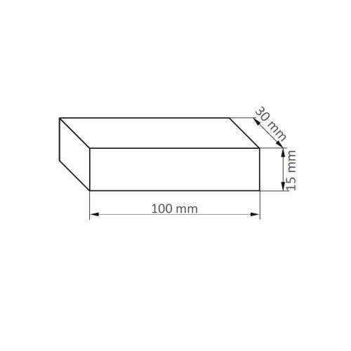 5 Stk | Abziehstein RU 2 | 100x30x15 mm Siliciumcarbid Maßzeichnung