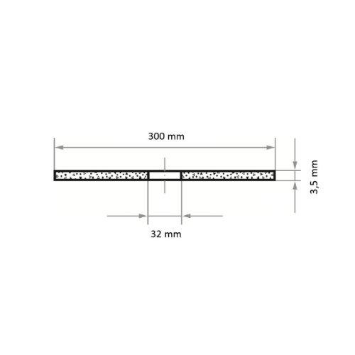 10 Stk | Trennscheibe T41 für Stahl 300x3.5 mm gerade | Bohrung 32,00 mm | für Trennvorrichtung Abb. Ähnlich