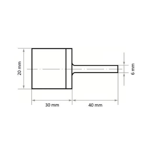 1 Stk | Marmorierstift P6MA Medium 40x30 mm Schaft 6 mm Siliciumcarbid Korn 46 Abb. Ähnlich
