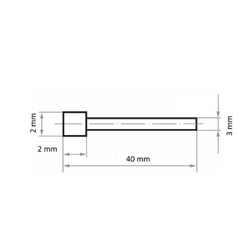1 Stk | Diamantschleifstift DSK Kugelform 2x2 mm Schaft 3 mm Abb. Ähnlich