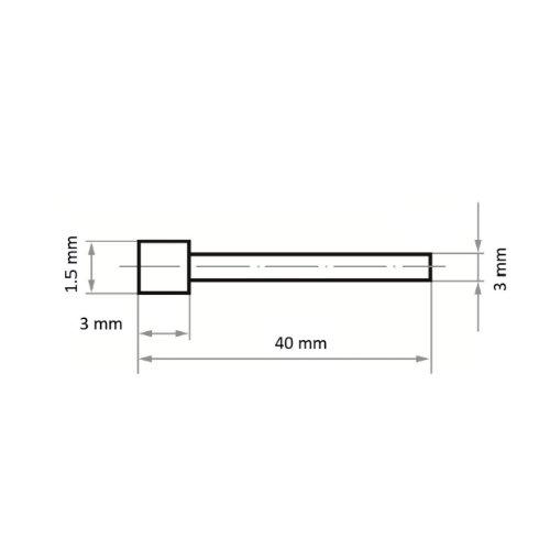 1 Stk   CBN-Schleifstift CS Zylinderform 1.5x3 mm Schaft 3 mm Abb. Ähnlich