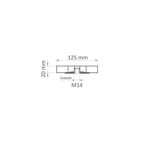 5 Stk | Lamellenschleifscheibe LSL universal 125x20 mm mit M14-Gewinde Korn 40 Maßzeichnung