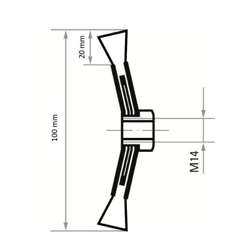 1 Stk | Kegelbürste BKSZ universal 100x13 mm für Winkelschleifer gezopft Abb. Ähnlich