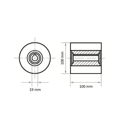 1 Stk | Polierwalze P6PW Medium 100x100 mm Bohrung 19 mm Siliciumcarbid Korn 46 | weich Abb. Ähnlich