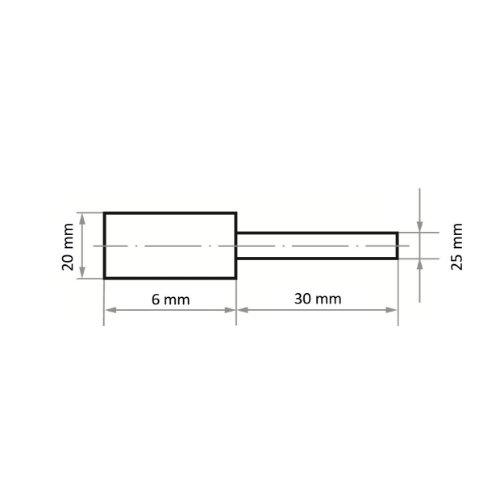 20 Stk   Polierstift P1ZY Zylinderform 20x6 mm Schaft 3 mm Abb. Ähnlich