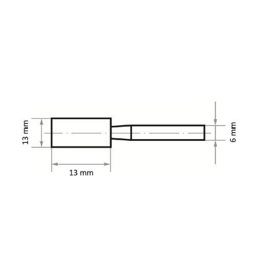 20 Stk   Schleifstift ZY Zylinderform für Stahl/Stahlguss 13x13 mm Schaft 6 mm   Edelkorund Korn 46 Abb. Ähnlich