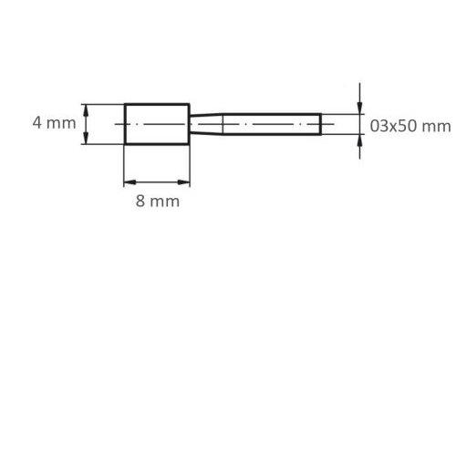 20 Stk | Schleifstift ZY Zylinderform für Stahl/Stahlguss 4x8 mm Schaft 3 mm Korn 100 Maßzeichnung