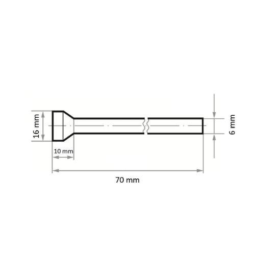 1 Stk | Fräser HFT für Edelstahl/Stahl Rückwärtsentgrater 16x10 mm Schaft 6 mm Maßzeichnung