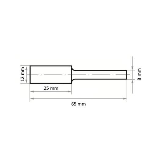 1 Stk | Fräser HFA Zylinderform für harte Werkstoffe 12x25 mm Schaft 8 mm | Verz. 4 Abb. Ähnlich