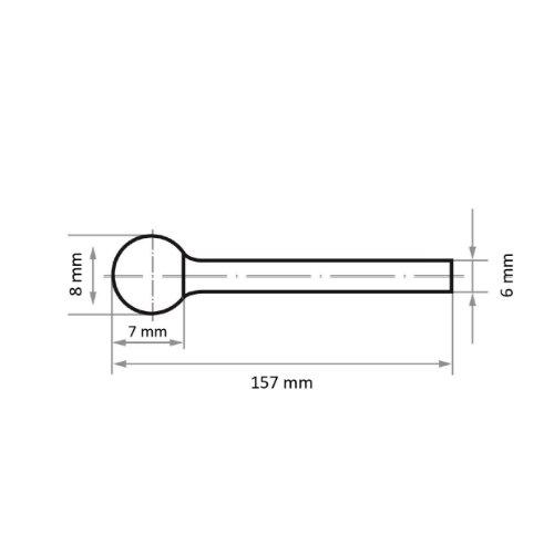 1 Stk   Fräser HFD Kugelform universal 8x7 mm Schaft 6 mm langer Schaft Maßzeichnung