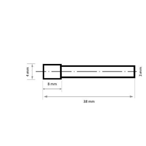 1 Stk | Innenfrässtift HFI Zylinderform für Edelstahl/Stahl 4x8 mm Schaft 3 mm Abb. Ähnlich