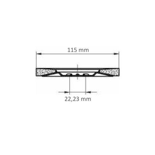 1 Stk   Fächerschleifscheibe SLTT universal Ø 115 mm Zirkonkorund Korn 40 flach Maßzeichnung