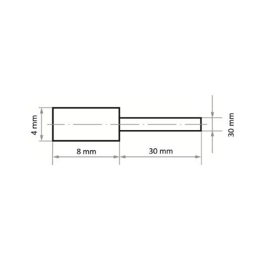 20 Stk   Polierstift P2ZY Zylinderform 4x8 mm Korn 280   Schaft 3 mm Abb. Ähnlich