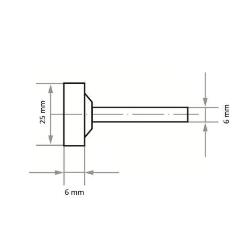 20 Stk | Schleifstift ZY2 Zylinderform für Werkzeugstähle 25x6 mm Schaft 6 mm | Korn 24 weich Abb. Ähnlich