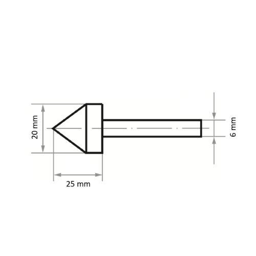 20 Stk | Schleifstift WKS Walzenkegelform für Stahl/Stahlguss 20x25 mm Schaft 6 mm | Edelkorund Korn 60 Abb. Ähnlich