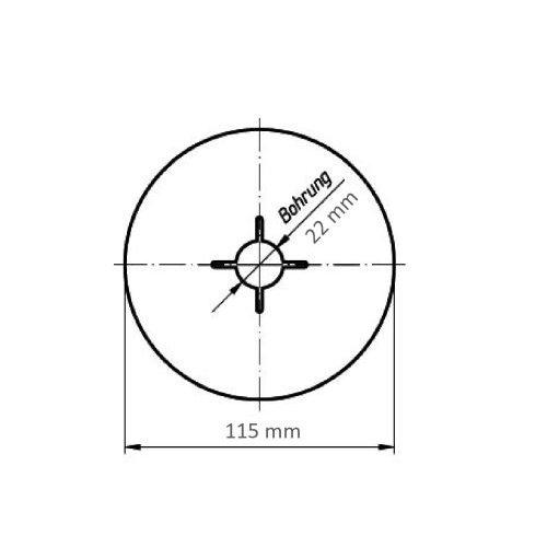 25 Stk | Fiberscheibe FIS universal Ø 115 mm Korund Korn 36 Maßzeichnung