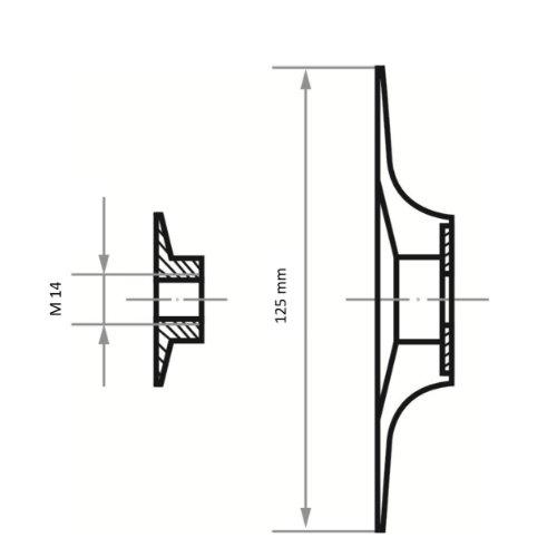 1 Stk | Stützteller STF für Fiberscheiben Ø 125 mm mit M14-Gewinde für Winkelschleifer Maßzeichnung