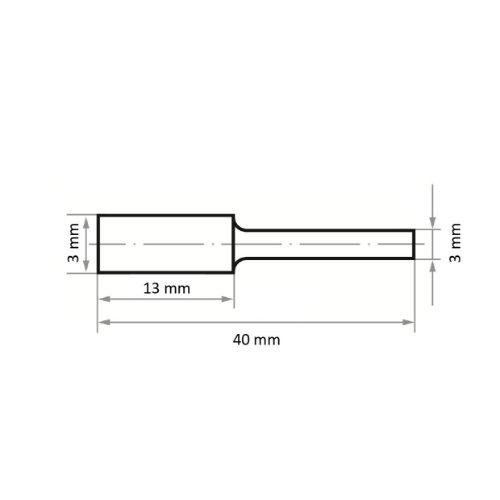 1 Stk | Fräser HFA Zylinderform universal 3x13 mm Schaft 3 mm Maßzeichnung