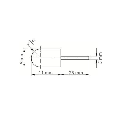 5 Stk   Werkzeugaufnahme GTWR für Schleifkappen 5x11 mm Schaft 3 mm Maßzeichnung
