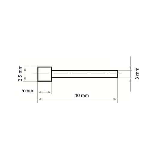 1 Stk | Diamantschleifstift DS Zylinderform 2.5x5 mm Schaft 3 mm Abb. Ähnlich