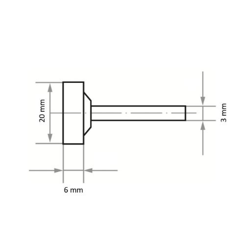 20 Stk | Schleifstift ZY2 Zylinderform für Stahl/Stahlguss 20x6 mm Schaft 3 mm | Korn 60 Abb. Ähnlich