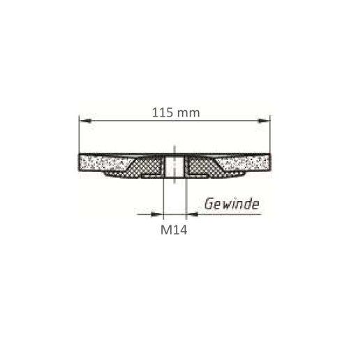 1 Stk | Fächerschleifscheibe SLTflex universal Ø 115 mm Ceramic Korn 40 flach Maßzeichnung