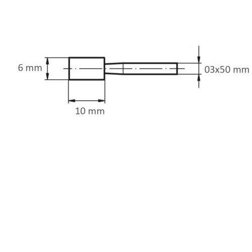 20 Stk | Schleifstift ZY Zylinderform für Stahl/Stahlguss 6x10 mm Schaft 3 mm Korn 100 Maßzeichnung