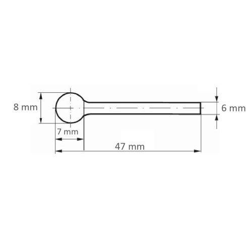 1 Stk | Fräser HFD Kugelform für Guss 8x7 mm Schaft 6 mm Maßzeichnung