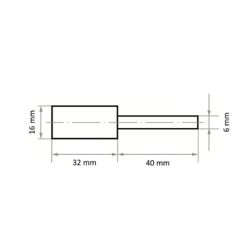 10 Stk | Polierstift P5ZY Zylinderform 16x32 mm Korn 80 | Schaft 6 mm Abb. Ähnlich