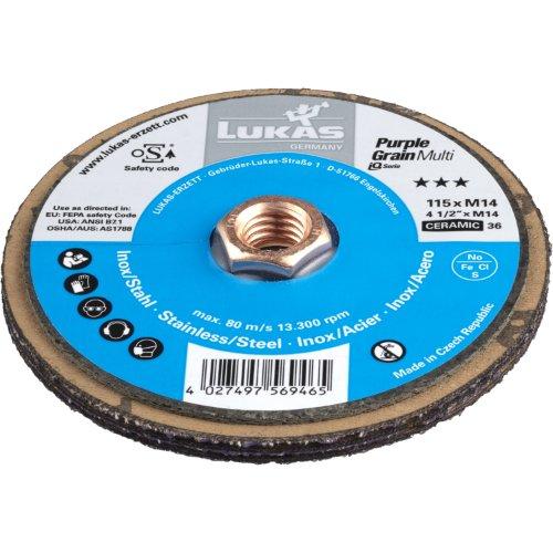 10 Stk   Kompaktschleifteller PURPLE GRAIN Multi universal Ø 115 mm Ceramic Korn 36 Produktbild