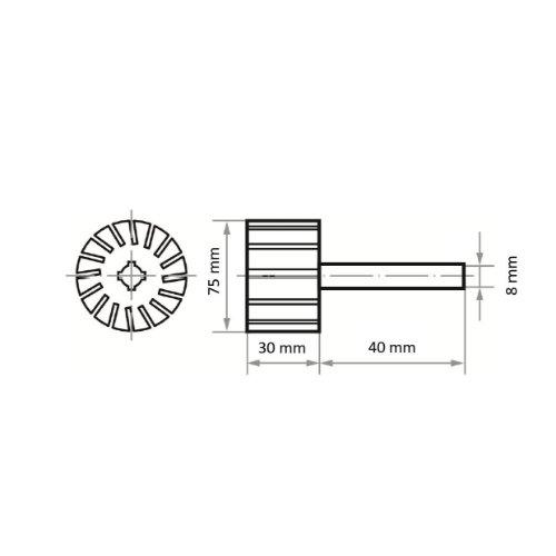 2 Stk | Werkzeugaufnahme STZY für Schleifhülsen 75x30 mm Schaft 8 mm | weich Abb. Ähnlich
