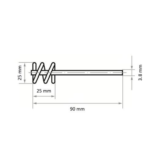 10 Stk | Rohrbürste RBSD universal 25x25 mm für Bohrmaschinen gewellt Abb. Ähnlich