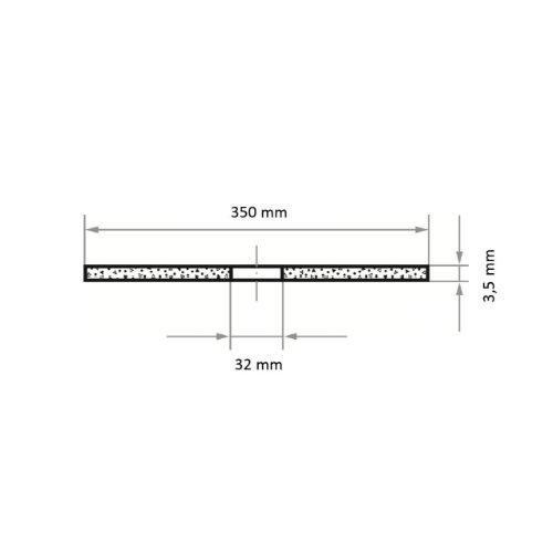 1 Stk   Trennscheibe T41 für Stahl 350x3.5 mm gerade   Bohrung 32,00 mm   für Trennvorrichtung Abb. Ähnlich