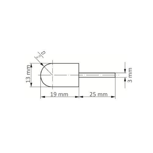 5 Stk   Werkzeugaufnahme GTWR für Schleifkappen 13x19 mm Schaft 3 mm Maßzeichnung